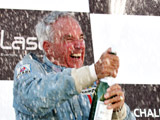 American John Delane celebrates his first overall Historic Formula One Championship
